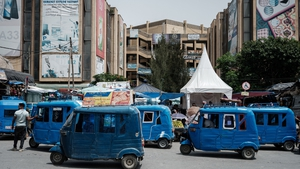 Motor tricycles pictured next to the downtown market in Mekele, the capital of Tigray region