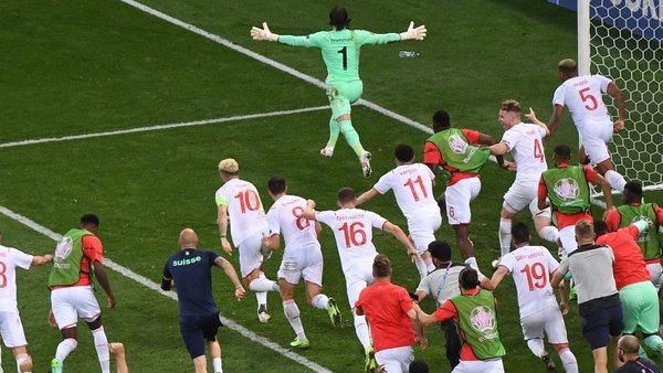 Yann Sommer reacts after saving the decisive penalty