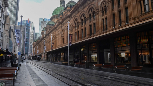 An empty street in the central business district (CBD) of Sydney, one of four Australian cities under lockdown