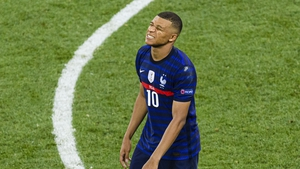 The agony of his penalty shootout miss is etched on the face of Kylian Mbappe