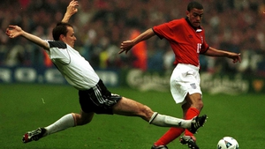 Dietmar Hamann (L) in action against England's Kieron Dyer at Wembley back in 2000