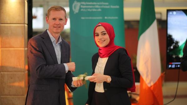 Graduate Reem Dawoud with Don Sexton, the Representative of Ireland to Palestine.