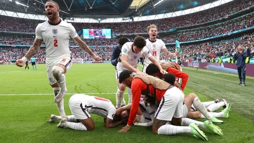 England players celebrate Harry Kane's goal which made it 2-0 on 85 minutes