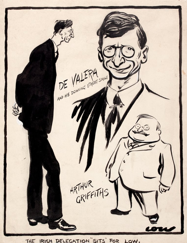 'Low', the caricaturist for The Star newspaper, sketches de Valera and Griffith in London. Photo: National Library of Ireland, NLI PD 2159