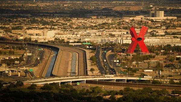 'La Equis' (The X) sculpture stands on the Mexican side of the US-Mexico border and Rio Grande River separating El Paso Ciudad Juarez