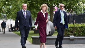 Jim Allister, Kate Hoey and former Brexit Party MEP Ben Habib pictured arriving at the High Court in Belfast