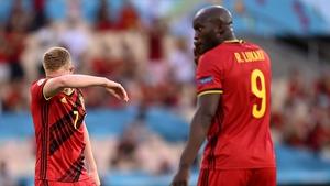 Kevin De Bruyne and Romelu Lukaku during Belgium's win over Portugal