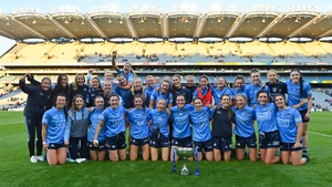 The Dublin team celebrate with the Lidl National League cup
