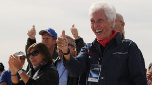 Wally Funk (R), pictured in 2010, celebrating before the Virgin Galactic VSS Enterprise spacecraft made its first public landing in New Mexico