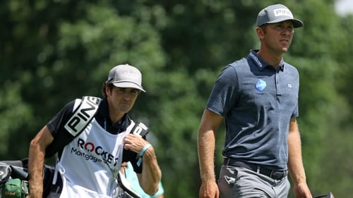 Seamus Power walks from the ninth tee during the first round
