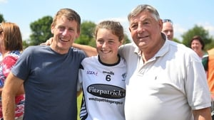 Former champion jockey Johnny Murtagh with his daughter Lauren and his father-in-law, Tipperary's Michael 'Babs' Keating, after Kildare's win over Waterford in the All-Ireland Minor B Ladies football semi-final match in 2018