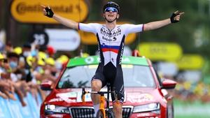 Matej Mohoric of Slovenia celebrates his stage win