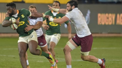 South Africa flanker and captain Siya Kolisi goes on the charge against Georgia