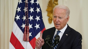 Mr Biden hosted the event to welcome 21 newly sworn-in citizens to the US as part of this weekend's Independence Day celebrations