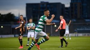 Aaron Greene celebrates scoring Shamrock Rovers third goal