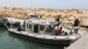 The Tunisian navy rescued dozens of people who had tried to flee to Europe (file pic)