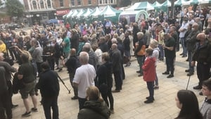 Families gather in Guildhall Square in Co Derry this afternoon