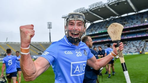 Dublin's Jake Malone celebrates after the game at Croke Park