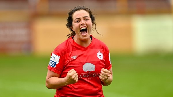 Match-winner Noelle Murray celebrates the final whistle after Shelbourne overcame Peamount United