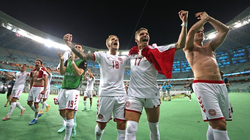 Denmark players celebrate after booking their spot in the semi-finals