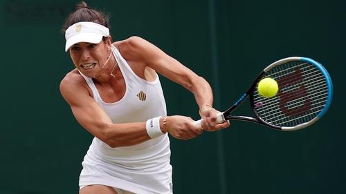Ajla Tomljanovic unleashes a powerful backhand in her win over Jelena Ostapenko