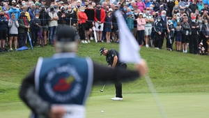 Shane Lowry on the final green in Kilkenny - next stop The Open