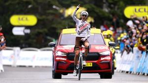 Ben O'Connor celebrates his stage win in the Alpine resort of Tignes