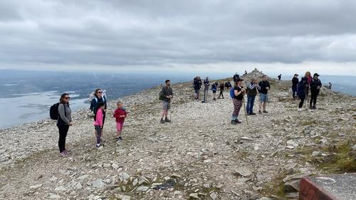 Pilgrims at the summit of Croagh Patrick