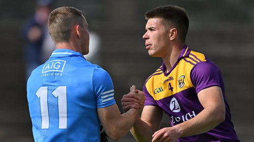 Eoin Porter of Wexford and Con O'Callaghan after the game