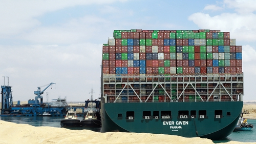 The Ever Given container ship was stuck in the Suez Canal for six days