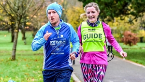 Ross Gallagher with guide Ellen Mulcahy Lynch at a Tralee parkrun before the pandemic.
