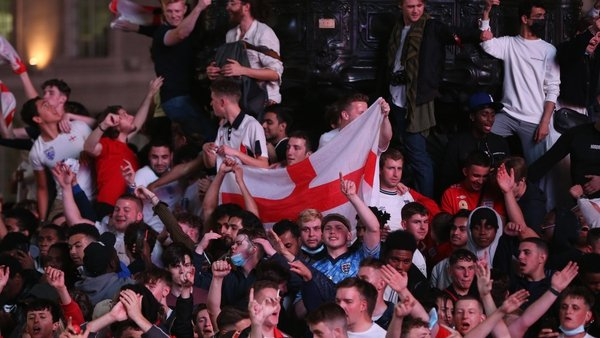 England fans celebrate in London after the 4-0 win over Ukraine