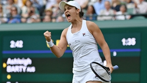 Ashleigh Barty celebrates after beating Barbora Krejcikova