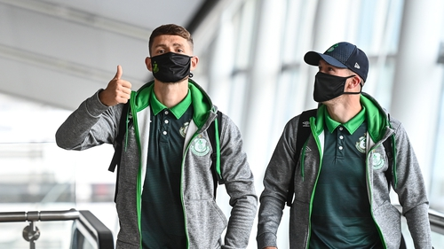 Lee Grace and Aaron Greene at Dublin Airport ahead of the flight to Slovakia