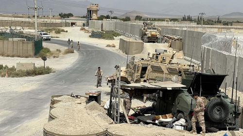 Afghan troops keep watch after US forces left Bagram Air Base, north of Kabul