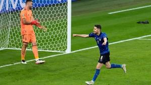 Jorginho wheels away to celebrate after scoring the winning penalty in the shootout