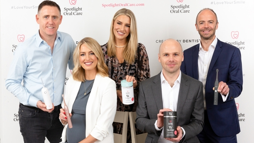 Dr Barry Buckley (COO, Spotlight Oral Care), Dr Lisa Creaven (CMO, Spotlight Oral Care), Dr Vanessa Creaven (CEO, Spotlight Oral Care), Anthony O'Driscoll (Investment Director, Development Capital) and Andrew Bourg (Partner, Development Capital)