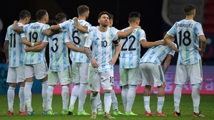 Lionel Messi and his Argentina team-mates during the penalty shootout