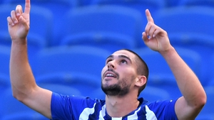 Neal Maupay seen celebrating after scoring against Arsenal in June 2020