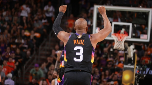 Chris Paul celebrates at the buzzer as the Suns open the series with a victory