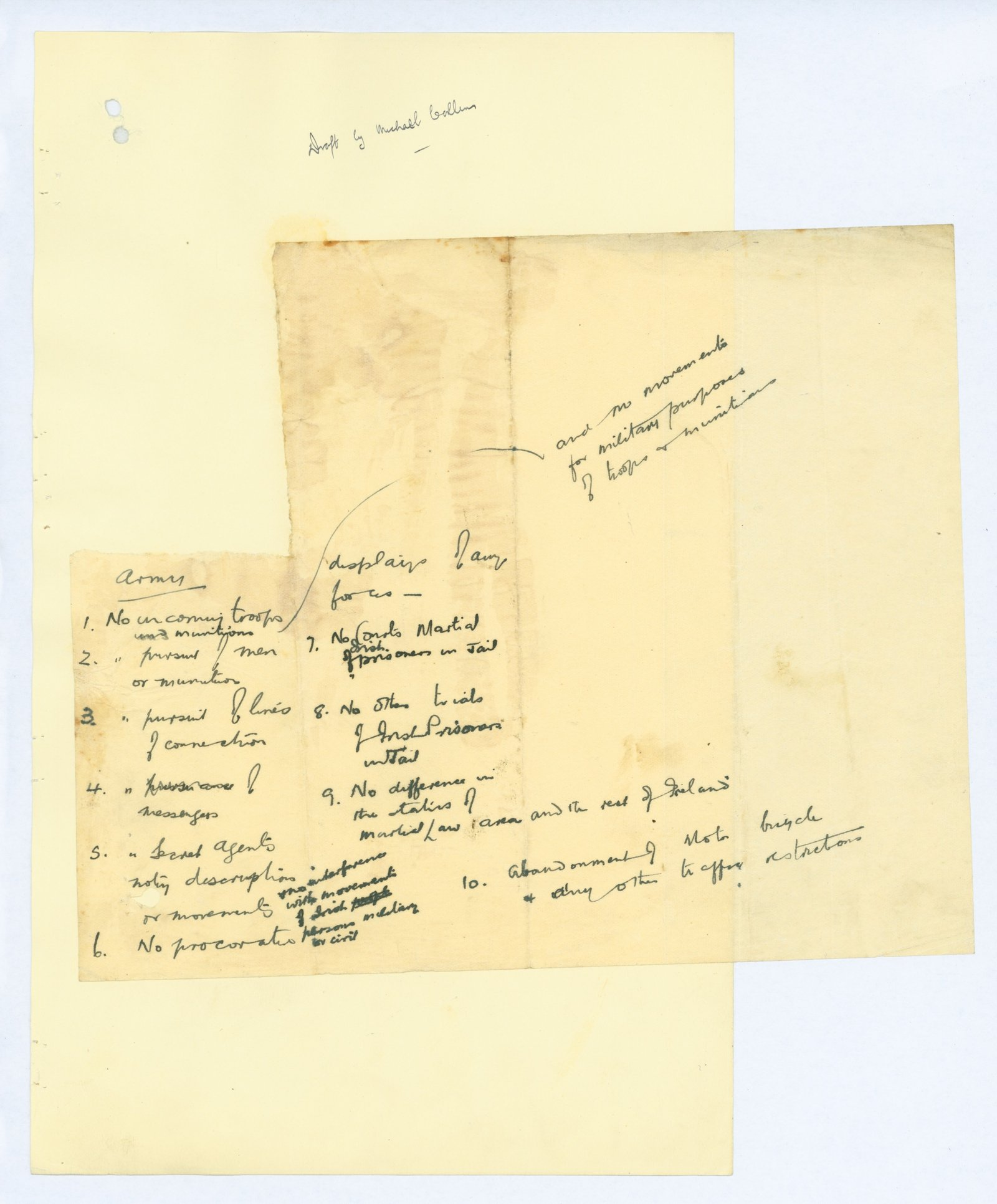 Image - Michael Collins' own first draft of what would become the Truce document. It might have been written in haste, but the laser-like focus on the priorities for the IRA is already obvious.   Credit: By kind permission of the National Archives.