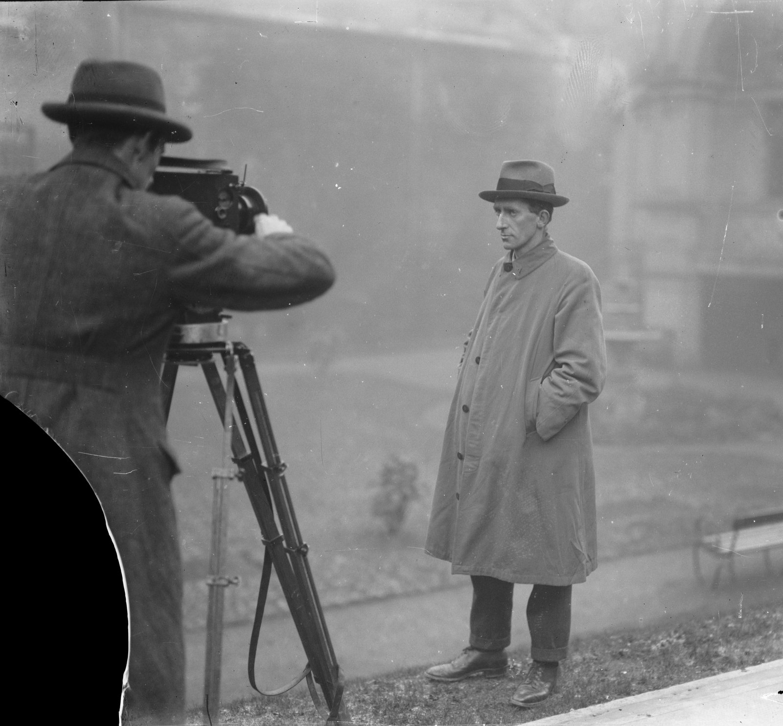 Image - SECRET NO MORE: IRA Chief of Staff Richard Mulcahy is filmed by Pathé News. (Credit: National Library of Ireland)