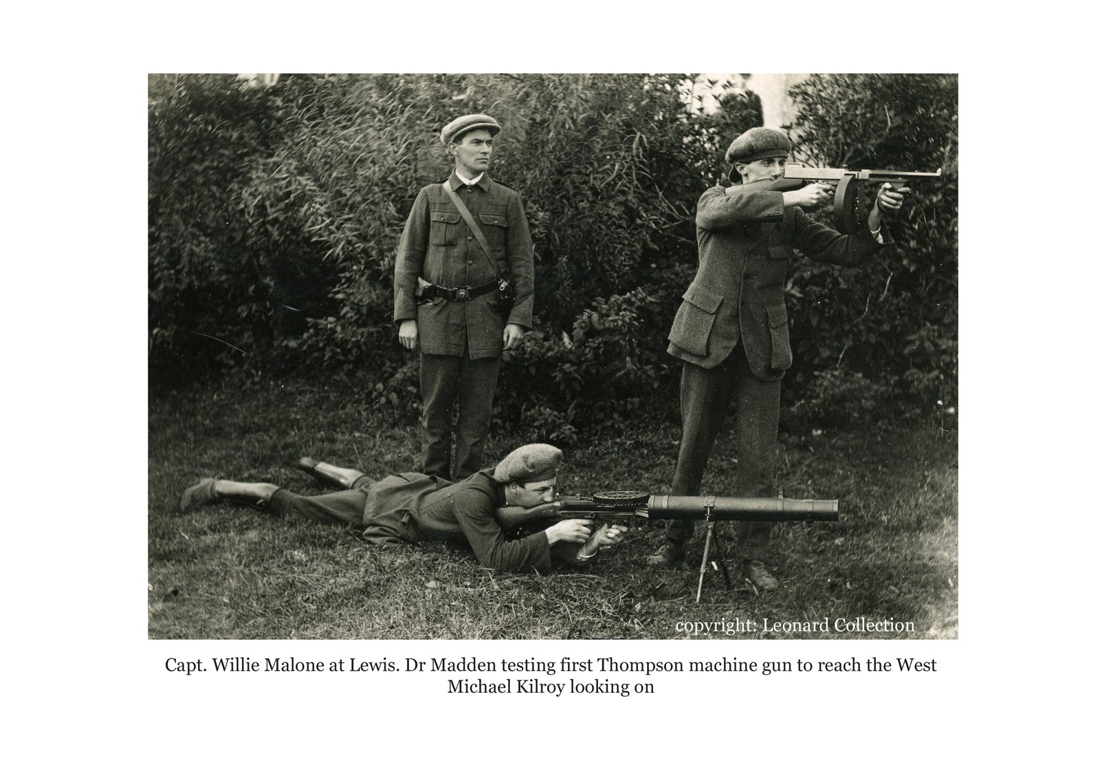 Image - From the same camp, veterans showed off the new heavy weaponry, including here, a Lewis Gun, and the first Thompson Sub-Machine Gun brought west of the Shannon.  Credit: JJ Leonard Collection.