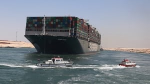 The 400-metre vessel is loaded with about 18,300 containers