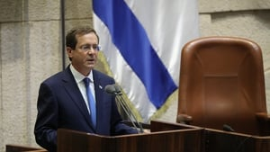 Isaac Herzog speaks during his presidential swearing in ceremony at the Knesset, Israeli Parliament in Jerusalem