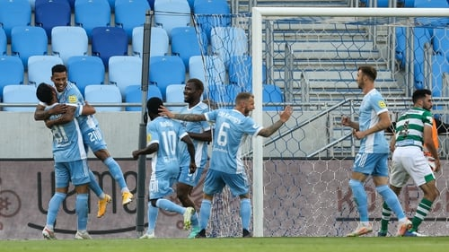 Rafael Ratao celebrates scoring Slovan's second goal