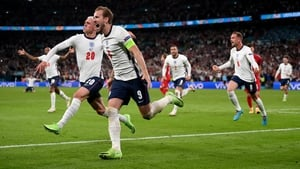 Harry Kane celebrates his goal in extra time