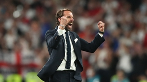 The England boss shows his delight at the final whistle