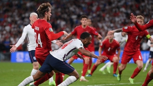 Raheem Sterling goes to ground at Wembley