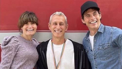 L-R Idina Menzel, Adam Shankman and James Marsden, image via Adam Shankman/Instagram